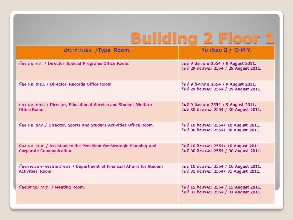 Building 2 Floor 1 ประเภทห้อง /Type Room. วัน เดือน ปี / D M Y.