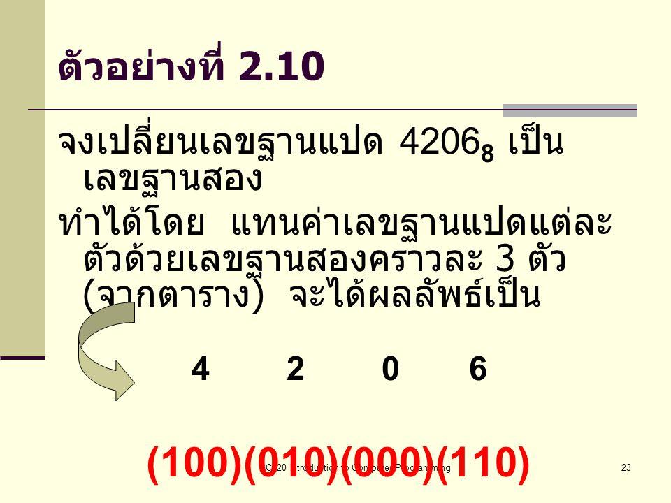 BC320 Introduction to Computer Programming23 ตัวอย่างที่ 2.10 จงเปลี่ยนเลขฐานแปด 4206 8 เป็น เลขฐานสอง ทำได้โดย แทนค่าเลขฐานแปดแต่ละ ตัวด้วยเลขฐานสองค