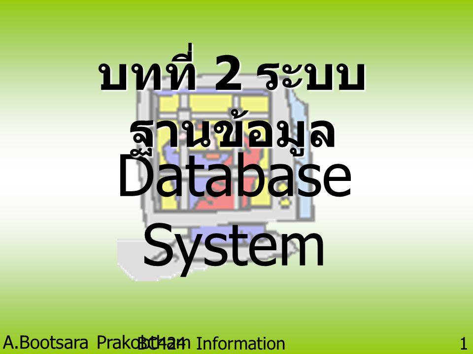 A.Bootsara Prakobtham BC424 Information Technology 11 แบบจำลองฐานข้อมูล (Database Models) คือ การจัดกลุ่มของโครงสร้างทางแนวคิด ที่ใช้เป็นตัวแทนโครงสร้างข้อมูลและ ความสัมพันธ์ข้อมูลในฐานข้อมูล แบ่งตามลักษณะของการใช้งานได้เป็น • แบบจำลองเชิงสัมพันธ์ (Relational Database Model) • แบบจำลองเชิงลดหลั่น (Hierarchical Database Model) • แบบจำลองเชิงโครงข่าย (Network Database Model)