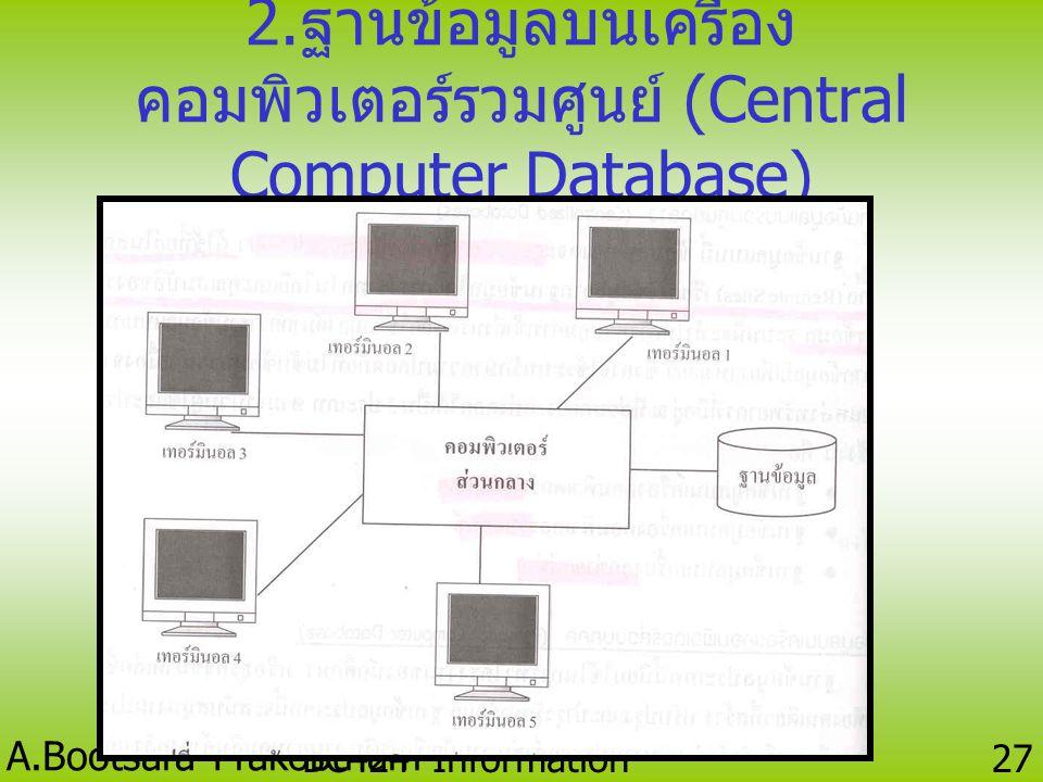 A.Bootsara Prakobtham BC424 Information Technology 26 1. ฐานข้อมูลบนเครื่อง คอมพิวเตอร์ส่วนบุคคล (Personal Computer Database)