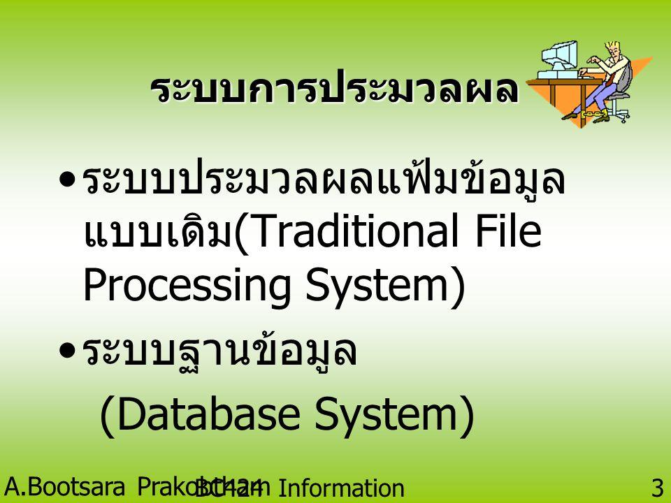 A.Bootsara Prakobtham BC424 Information Technology 3 ระบบการประมวลผล • ระบบประมวลผลแฟ้มข้อมูล แบบเดิม (Traditional File Processing System) • ระบบฐานข้อมูล (Database System)