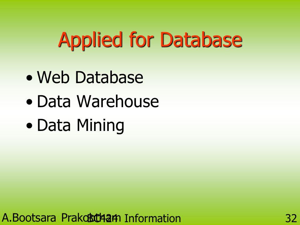 A.Bootsara Prakobtham BC424 Information Technology 31 2. ฐานข้อมูลลักษณะต่าง (Heterogeneous Database)