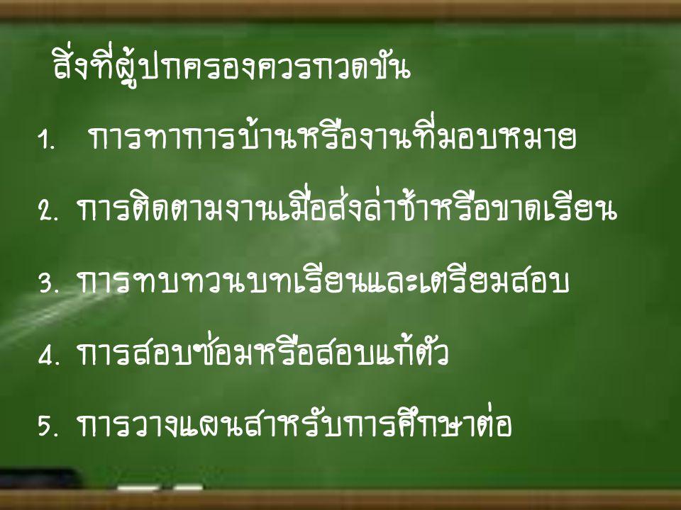 1. การทำการบ้านหรืองานที่มอบหมาย 2. การติดตามงานเมื่อส่งล่าช้าหรือขาดเรียน 3. การทบทวนบทเรียนและเตรียมสอบ 4. การสอบซ่อมหรือสอบแก้ตัว 5. การวางแผนสำหรั
