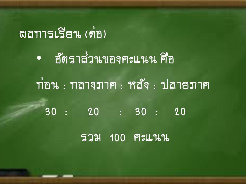 ผลการเรียน (ต่อ) • อัตราส่วนของคะแนน คือ ก่อน : กลางภาค : หลัง : ปลายภาค 30 : 20 : 30 : 20 รวม 100 คะแนน