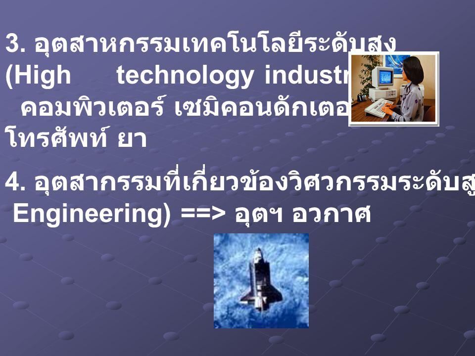 3. อุตสาหกรรมเทคโนโลยีระดับสูง (High technology industry) ==> คอมพิวเตอร์ เซมิคอนดักเตอร์ โทรศัพท์ ยา 4. อุตสากรรมที่เกี่ยวข้องวิศวกรรมระดับสูง (Preci