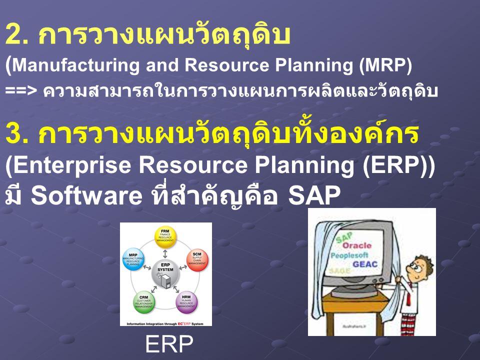 2. การวางแผนวัตถุดิบ ( Manufacturing and Resource Planning (MRP) ==> ความสามารถในการวางแผนการผลิตและวัตถุดิบ 3. การวางแผนวัตถุดิบทั้งองค์กร (Enterpris
