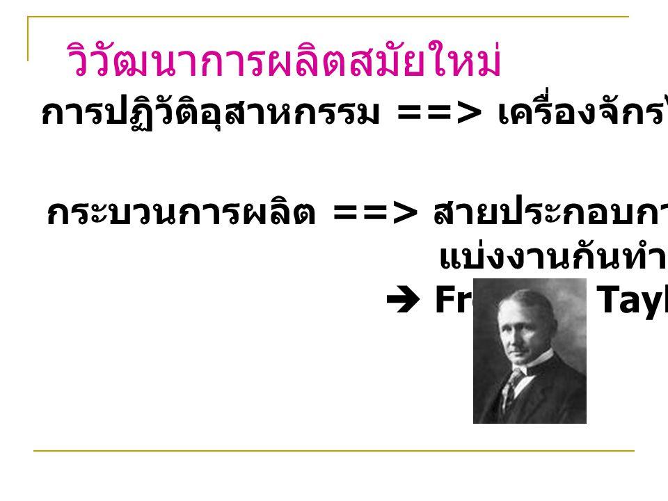 วิวัฒนาการผลิตสมัยใหม่ การปฏิวัติอุสาหกรรม ==> เครื่องจักรไอน้ำ ==> ใช้น้ำมัน กระบวนการผลิต ==> สายประกอบการ (Assembly Line) แบ่งงานกันทำ (Division of