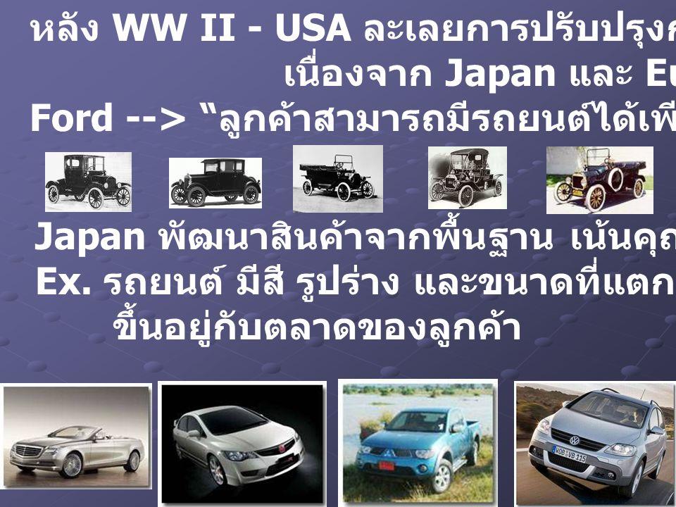Japan พัฒนาสินค้าจากพื้นฐาน เน้นคุณภาพ บริการและต้นทุน Ex. รถยนต์ มีสี รูปร่าง และขนาดที่แตกต่าง ขึ้นอยู่กับตลาดของลูกค้า หลัง WW II - USA ละเลยการปรั