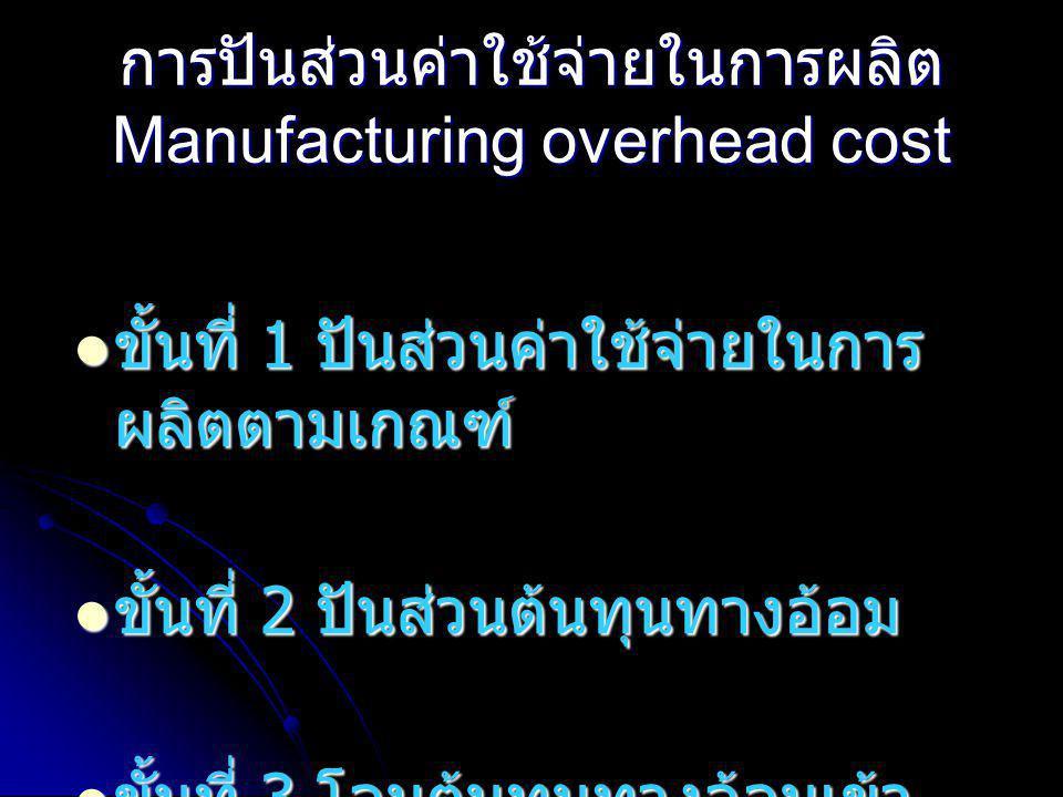 การปันส่วนค่าใช้จ่ายในการผลิต Manufacturing overhead cost  ขั้นที่ 1 ปันส่วนค่าใช้จ่ายในการ ผลิตตามเกณฑ์  ขั้นที่ 2 ปันส่วนต้นทุนทางอ้อม  ขั้นที่ 3