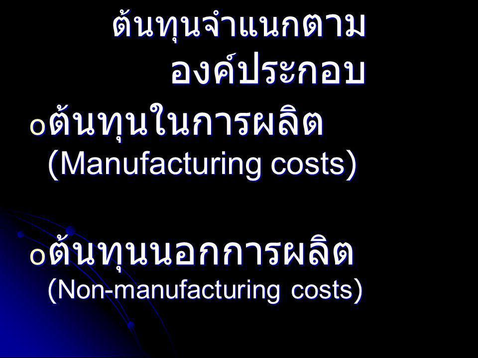 ต้นทุนจำแนก ตาม องค์ประกอบ o ต้นทุนในการผลิต (Manufacturing costs) o ต้นทุนนอกการผลิต (Non-manufacturing costs)