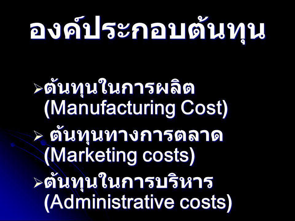 องค์ประกอบต้นทุน  ต้นทุนในการผลิต (Manufacturing Cost) วัตถุวัตถุทางตรงวัตถุทางอ้อมแรงงานแรงานทางตรงแรงงานทางอ้อมค่าใช้จ่ายในการผลิตวัตถุทางอ้อมแรงงานทางอ้อมค่าใช้จ่ายอื่นๆ ต้นทุนแท้ ต้นทุนแปร สภาพ