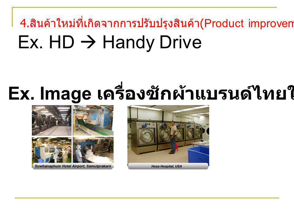 4. สินค้าใหม่ที่เกิดจากการปรับปรุงสินค้า (Product improvements) Ex. HD  Handy Drive Ex. Image เครื่องซักผ้าแบรนด์ไทยในตลาดโลก