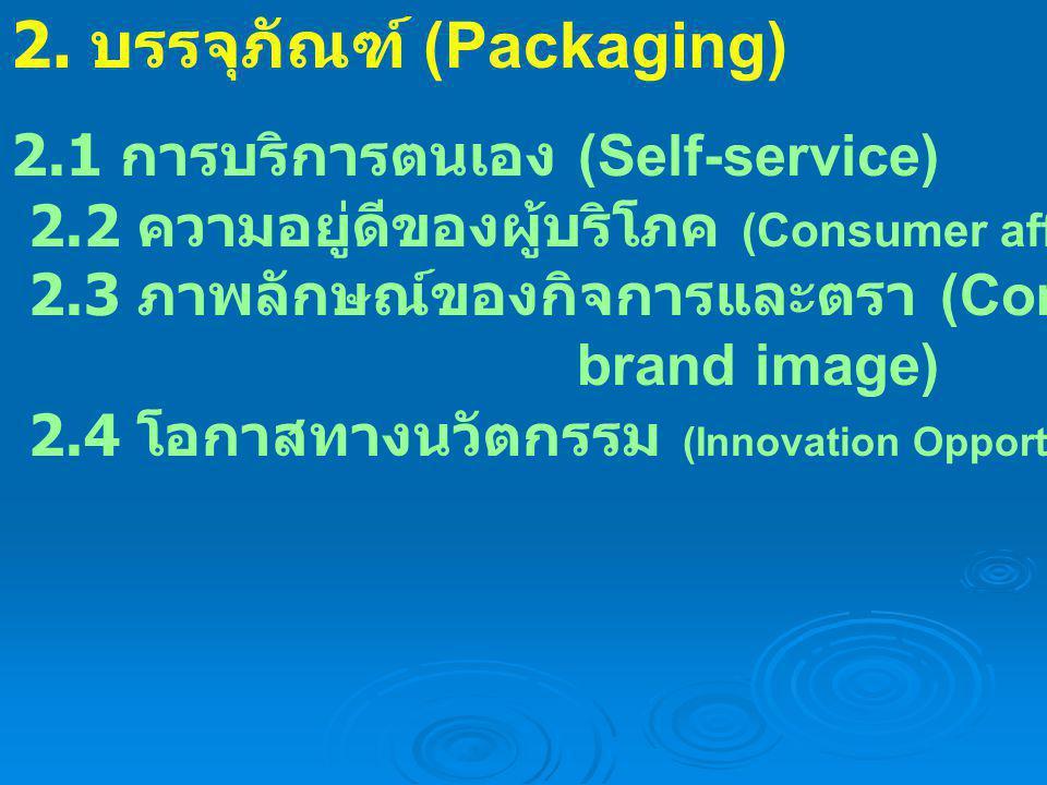 2.1 การบริการตนเอง (Self-service) 2.2 ความอยู่ดีของผู้บริโภค (Consumer affluence) 2.3 ภาพลักษณ์ของกิจการและตรา (Company and brand image) 2.4 โอกาสทางน
