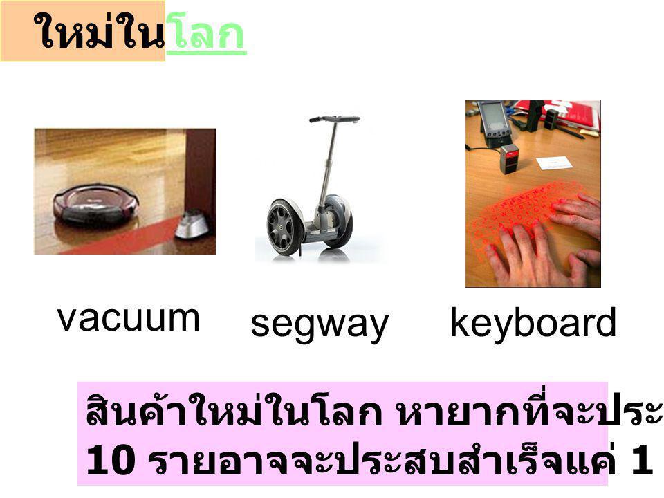 ใหม่ในโลกโลก สินค้าใหม่ในโลก หายากที่จะประสบความสำเร็จ 10 รายอาจจะประสบสำเร็จแค่ 1 ราย segwaykeyboard vacuum