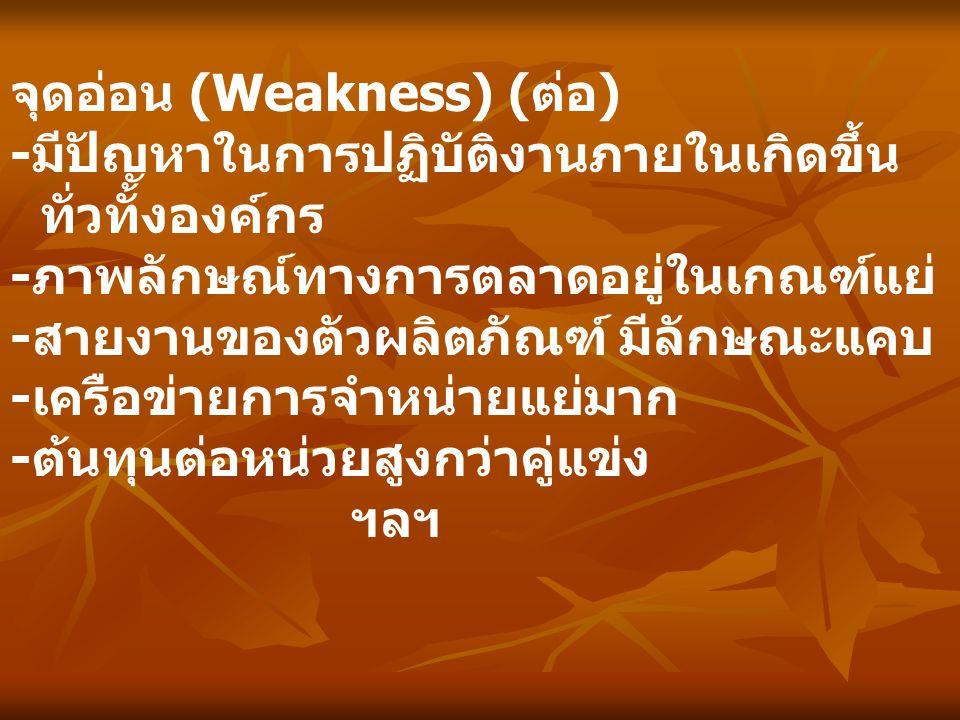 จุดอ่อน (Weakness) ( ต่อ ) -มีปัญหาในการปฏิบัติงานภายในเกิดขึ้น ทั่วทั้งองค์กร -ภาพลักษณ์ทางการตลาดอยู่ในเกณฑ์แย่ -สายงานของตัวผลิตภัณฑ์ มีลักษณะแคบ -