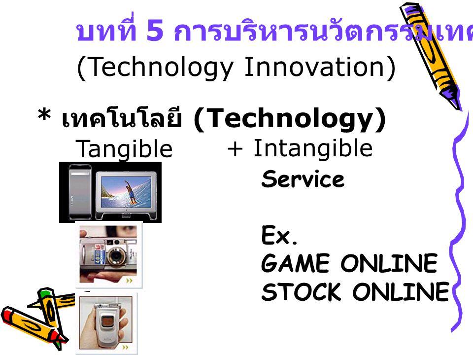 * นวัตกรรม (Innovation) ==> ธุรกรรม (Commercialization) - กล้องดิจิตอล - โทรศัพท์ 3 G * การประดิษฐ์ (Invention) - โทรศัพท์ 5 G -Hard Disk TB - หุ่นยนต์ รับใช้ *