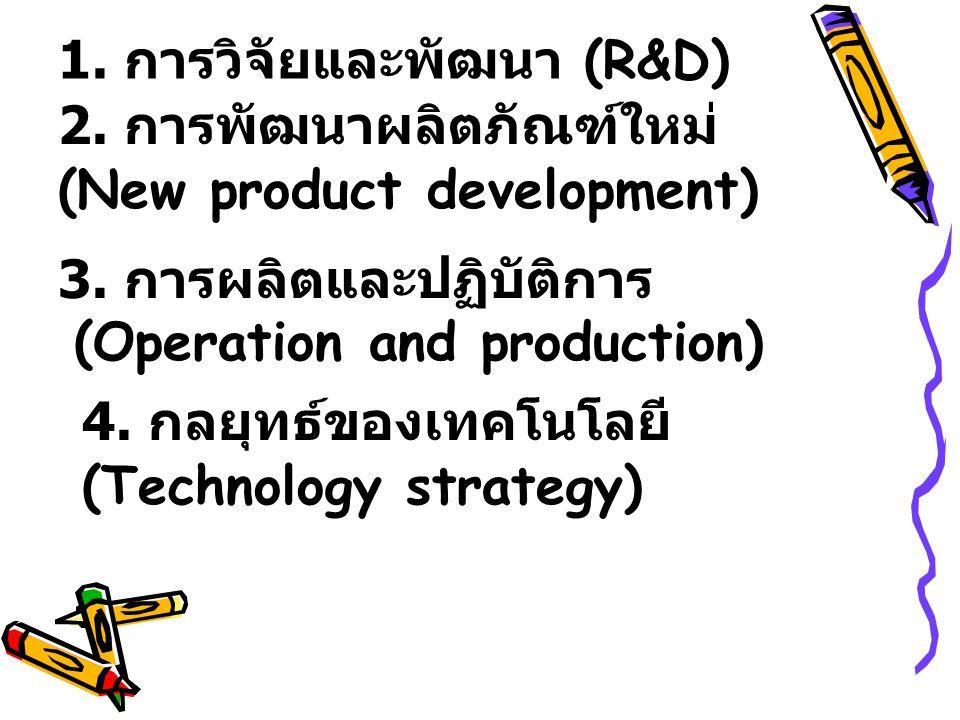 1. การวิจัยและพัฒนา (R&D) 2. การพัฒนาผลิตภัณฑ์ใหม่ (New product development) 3. การผลิตและปฏิบัติการ (Operation and production) 4. กลยุทธ์ของเทคโนโลยี