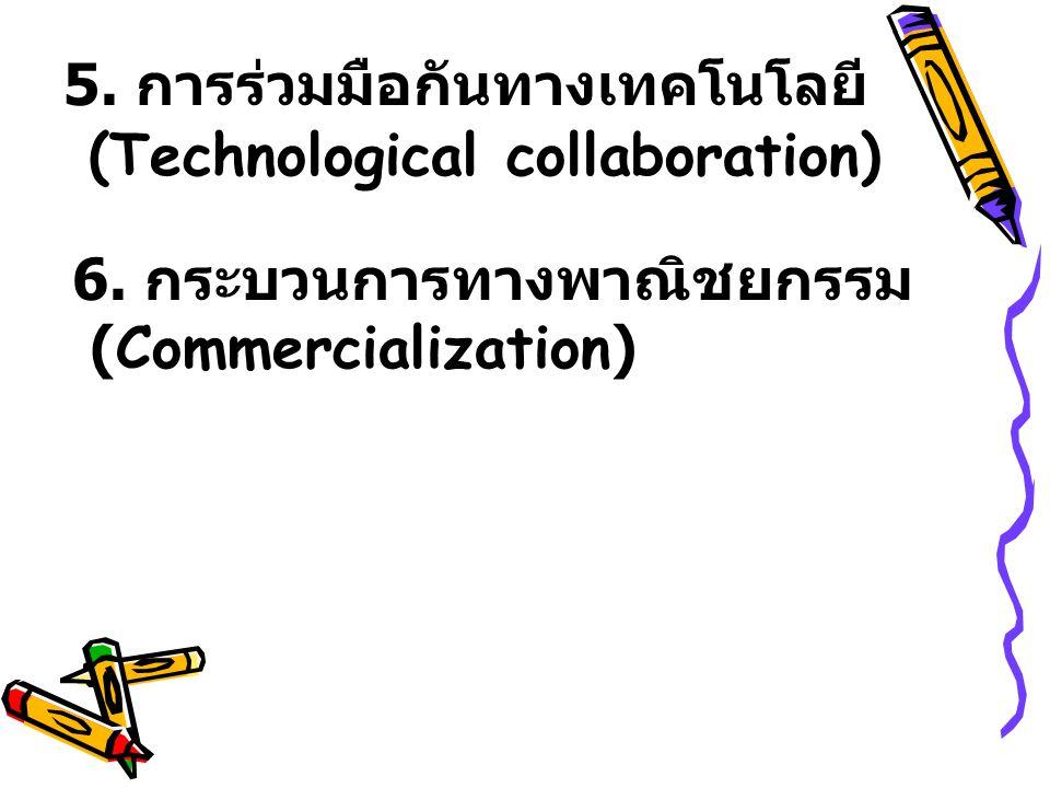 5. การร่วมมือกันทางเทคโนโลยี (Technological collaboration) 6. กระบวนการทางพาณิชยกรรม (Commercialization)