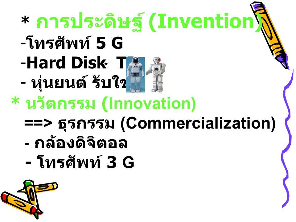 * นวัตกรรม (Innovation) ==> ธุรกรรม (Commercialization) - กล้องดิจิตอล - โทรศัพท์ 3 G * การประดิษฐ์ (Invention) - โทรศัพท์ 5 G -Hard Disk TB - หุ่นยนต