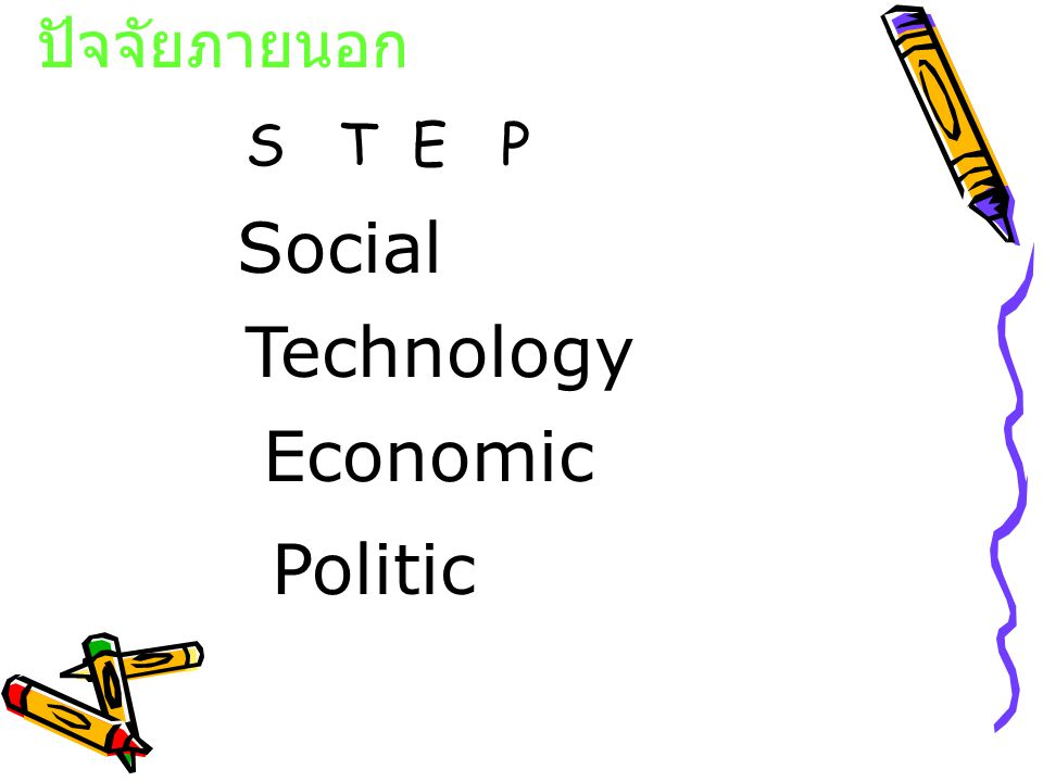 ปัจจัยภายนอก Technology Economic Politic Social S T E P