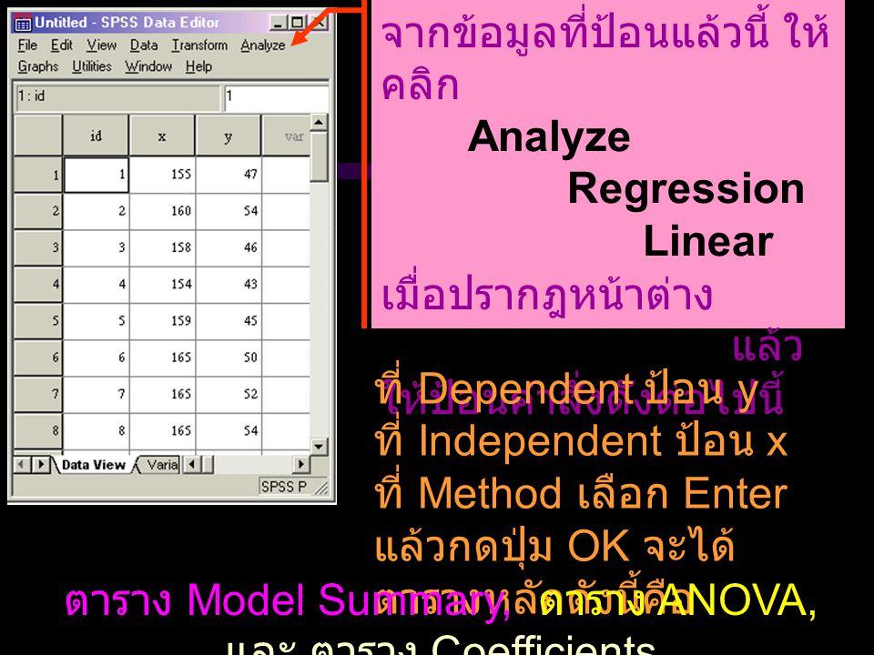 จากข้อมูลที่ป้อนแล้วนี้ ให้ คลิก Analyze Regression Linear เมื่อปรากฎหน้าต่าง Linear Regression แล้ว ให้ป้อนคำสั่งดังต่อไปนี้ ที่ Dependent ป้อน y ที่ Independent ป้อน x ที่ Method เลือก Enter แล้วกดปุ่ม OK จะได้ ตารางหลักดังนี้คือ ตาราง Model Summary, ตาราง ANOVA, และ ตาราง Coefficients