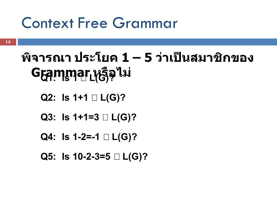 Context Free Grammar พิจารณา ประโยค 1 – 5 ว่าเป็นสมาชิกของ Grammar หรือไม่ Q1: Is 1  L(G)? Q2: Is 1+1  L(G)? Q3: Is 1+1=3  L(G)? Q4: Is 1-2=-1  L(