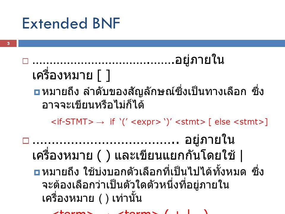 Extended BNF  …………………………….……. อยู่ภายใน เครื่องหมาย [ ]  หมายถึง ลำดับของสัญลักษณ์ซึ่งเป็นทางเลือก ซึ่ง อาจจะเขียนหรือไม่ก็ได้ → if '(' ')' [ else ]