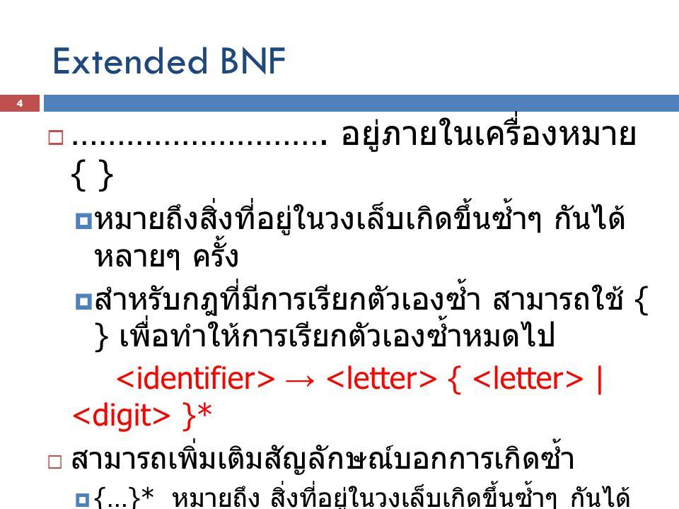 ตัวอย่าง BNF  BNF  + | - |  * | / |  นิพจน์คือ เทอมเดี่ยวๆ เพียงเทอมเดียว ( เช่น Y, 345) หรือ เป็น เทอมที่ซับซ้อนขึ้นโดยนำหลายๆ เทอมมา บวก ลบ คูณ หาร กันได้ ( เช่น Y + 345 / 2 * Z)  เทอม คือ แฟคเตอร์หนึ่งแฟคเตอร์ หรือ หลายแฟคเตอร์มาคูณ หรือหารกัน 5