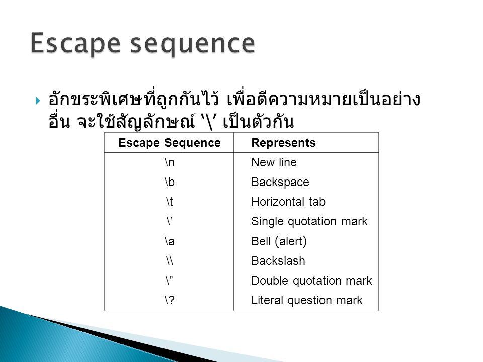  อักขระพิเศษที่ถูกกันไว้ เพื่อตีความหมายเป็นอย่าง อื่น จะใช้สัญลักษณ์ '\' เป็นตัวกัน Escape SequenceRepresents \nNew line \bBackspace \tHorizontal ta