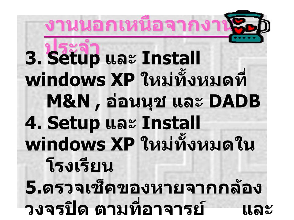 งานนอกเหนือจากงาน ประจำ 3.Setup และ Install windows XP ใหม่ทั้งหมดที่ M&N, อ่อนนุช และ DADB 4.
