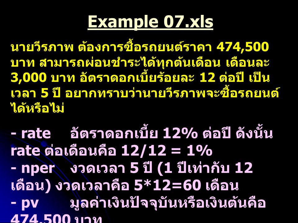 Example 07.xls นายวีรภาพ ต้องการซื้อรถยนต์ราคา 474,500 บาท สามารถผ่อนชำระได้ทุกต้นเดือน เดือนละ 3,000 บาท อัตราดอกเบี้ยร้อยละ 12 ต่อปี เป็น เวลา 5 ปี