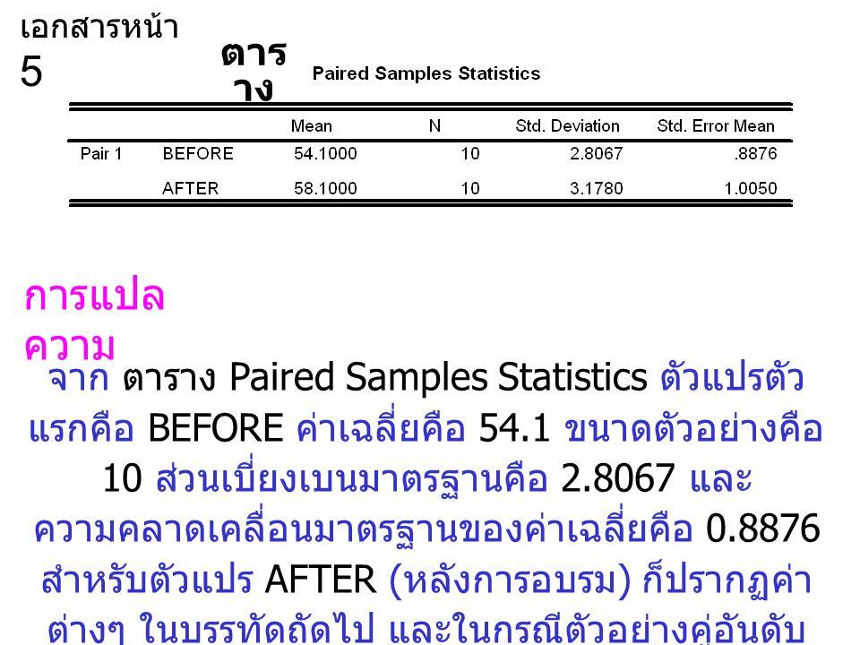 จาก ตาราง Paired Samples Statistics ตัวแปรตัว แรกคือ BEFORE ค่าเฉลี่ยคือ 54.1 ขนาดตัวอย่างคือ 10 ส่วนเบี่ยงเบนมาตรฐานคือ 2.8067 และ ความคลาดเคลื่อนมาตรฐานของค่าเฉลี่ยคือ 0.8876 สำหรับตัวแปร AFTER ( หลังการอบรม ) ก็ปรากฏค่า ต่างๆ ในบรรทัดถัดไป และในกรณีตัวอย่างคู่อันดับ เช่นนี้ขนาดตัวอย่างจะต้องเท่ากันเสมอ การแปล ความ ตาร าง เอกสารหน้า 5
