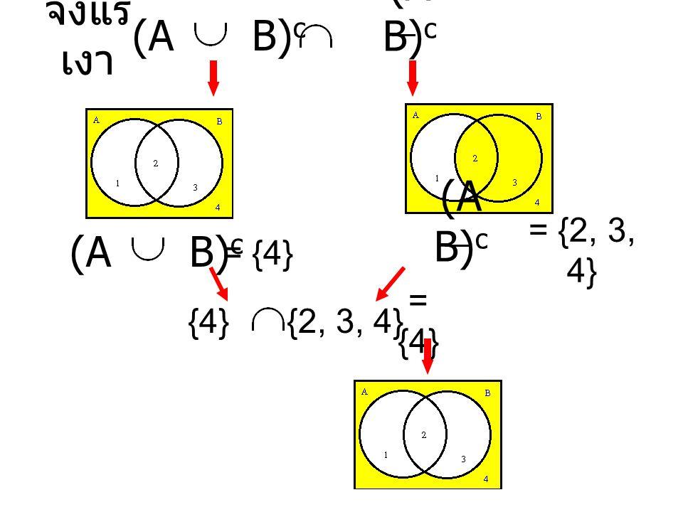 แผนภาพเปรียบเทียบ 1.A B 2. A B 3. A B 4. (A B) c 5.