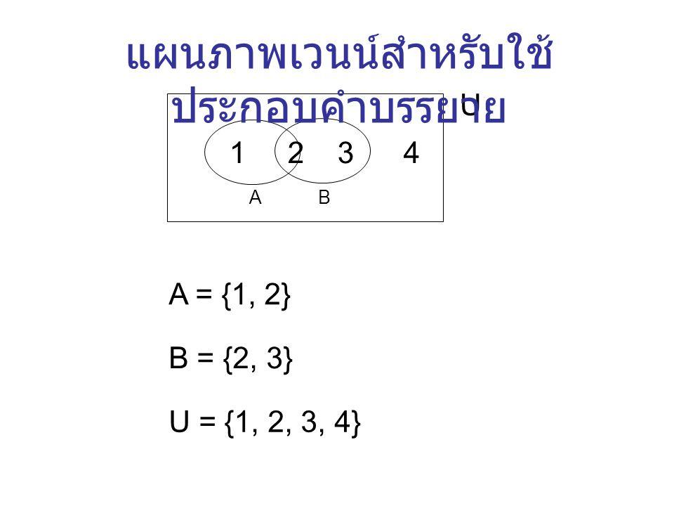 แผนภาพ เวนน์ A B U เลข จำนวน เซต ใช้     เช่น 2  3 = 5 2  3 = 6 เป็นต้น ใช้     เรียกว่า การ ดำเนินการของเซต