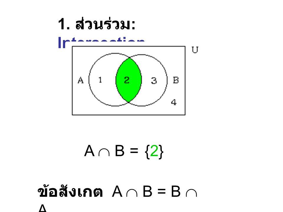 1 2 3 4 U A B A = {1, 2} B = {2, 3} U = {1, 2, 3, 4} แผนภาพเวนน์สำหรับใช้ ประกอบคำบรรยาย