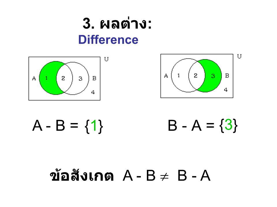 2. ส่วนรวม : U nion A  B = {1, 2, 3} ข้อสังเกต A  B = B  A