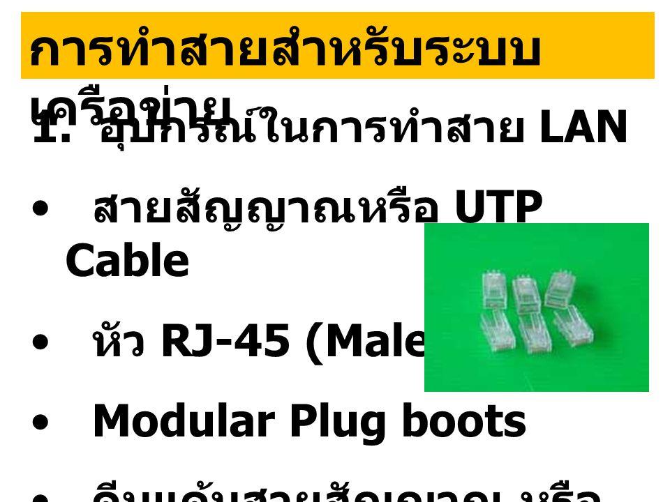 การทำสายสำหรับระบบ เครือข่าย 1. อุปกรณ์ในการทำสาย LAN • สายสัญญาณหรือ UTP Cable • หัว RJ-45 (Male) • Modular Plug boots • คีมแค้มสายสัญญาณ หรือ Crimpi