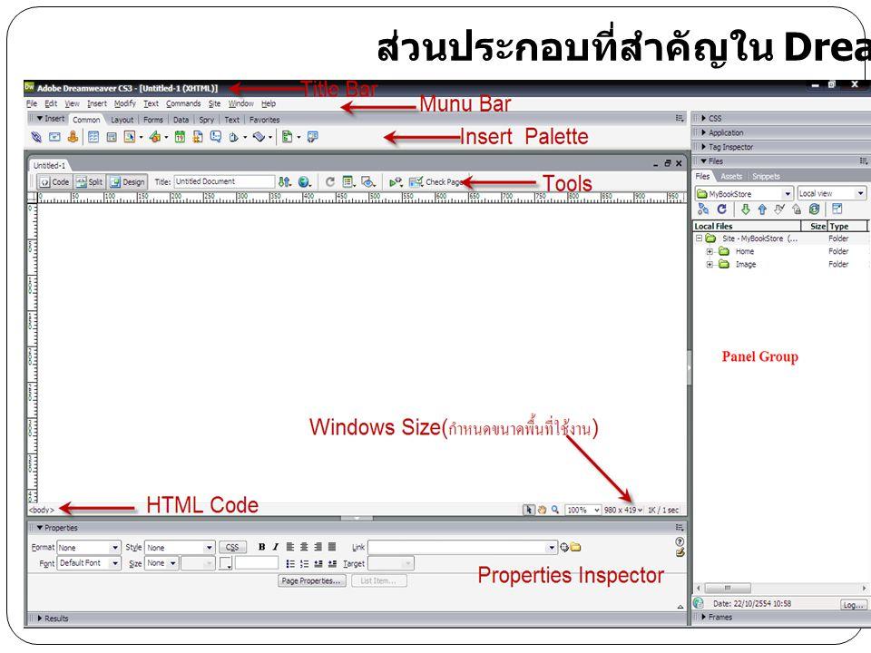 ส่วนประกอบที่สำคัญใน Dreamweaver CS3