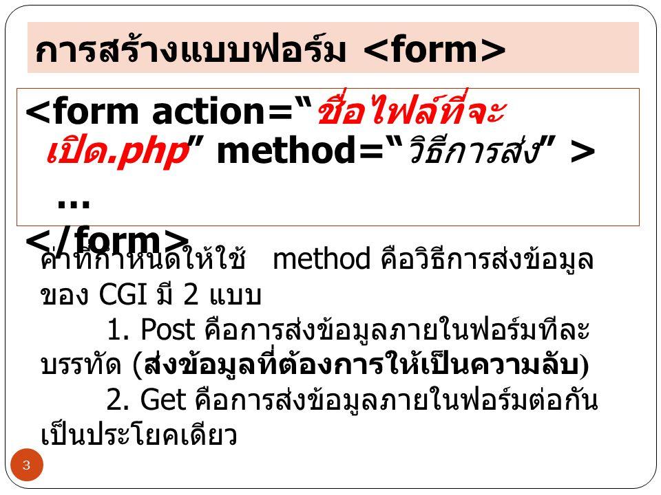 3 การสร้างแบบฟอร์ม … ค่าที่กำหนดให้ใช้ method คือวิธีการส่งข้อมูล ของ CGI มี 2 แบบ 1.