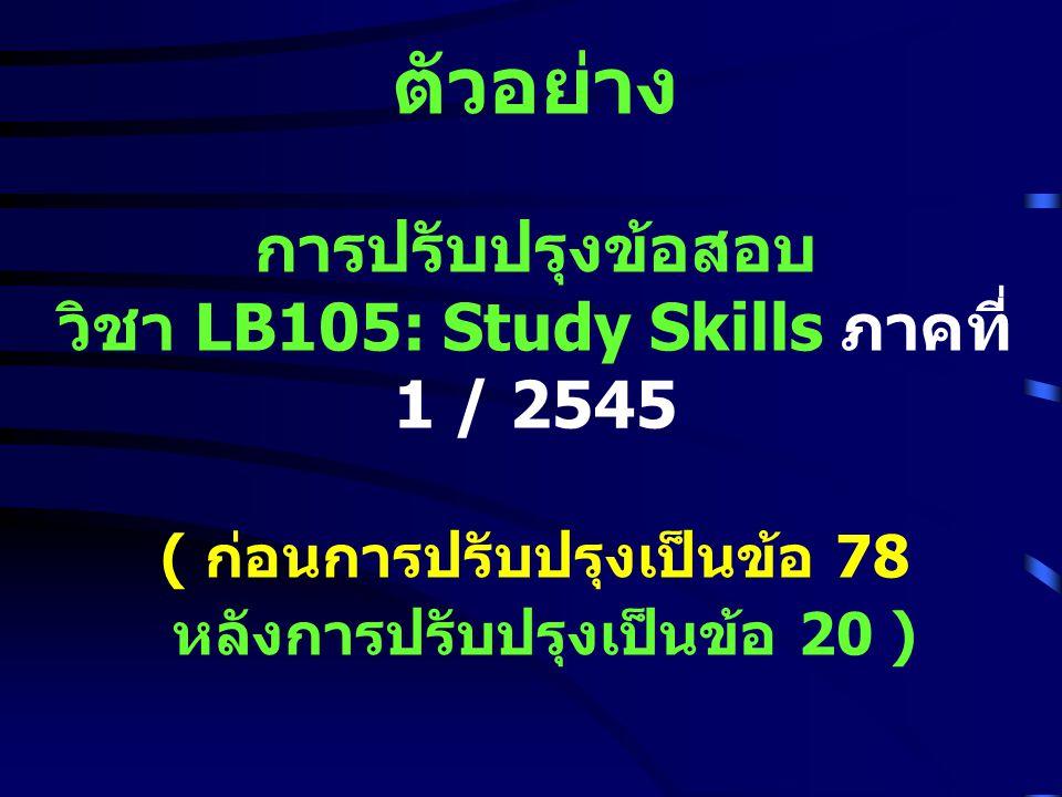 ตัวอย่าง การปรับปรุงข้อสอบ วิชา LB105: Study Skills ภาคที่ 1 / 2545 ( ก่อนการปรับปรุงเป็นข้อ 78 หลังการปรับปรุงเป็นข้อ 20 )
