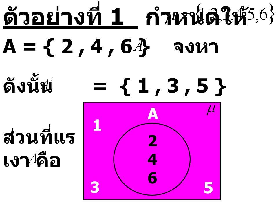 ตัวอย่างที่ 1 กำหนดให้ A = { 2, 4, 6 } จงหา ดังนั้น = { 1, 3, 5 } 246246 1 3 5 A ส่วนที่แร เงา คือ