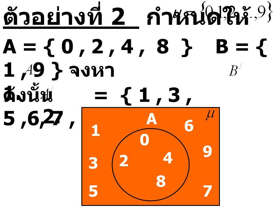 ตัวอย่างที่ 2 กำหนดให้ A = { 0, 2, 4, 8 } B = { 1, 9 } จงหา 1. 2. ดังนั้น = { 1, 3, 5,6, 7, 9 } 1 5 A 3 7 9 0 4 2 6 8 7 9 4