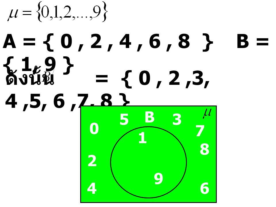 A = { 0, 2, 4, 6, 8 } B = { 1, 9 } ดังนั้น = { 0, 2,3, 4,5, 6,7, 8 } 0 4 B 2 6 8 1 53 7 9