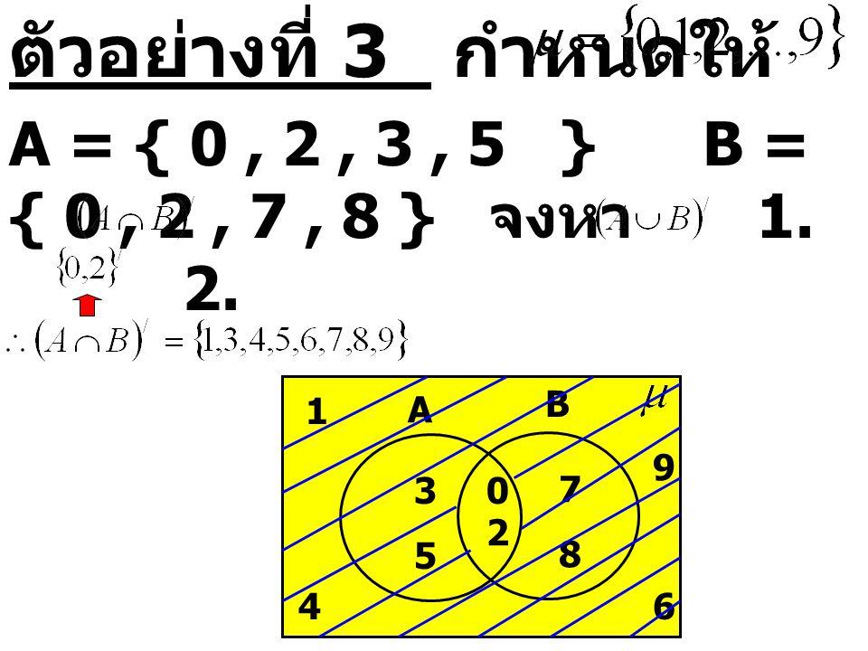 ตัวอย่างที่ 3 กำหนดให้ A = { 0, 2, 3, 5 } B = { 0, 2, 7, 8 } จงหา 1. 2. A B 0 2 3 5 7 8 1 46 9