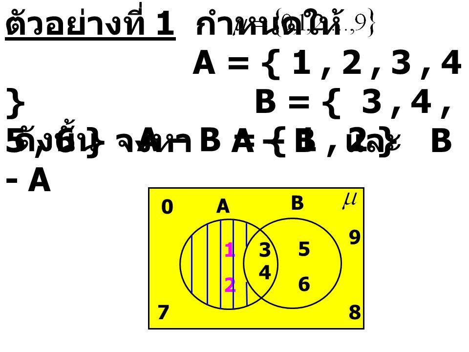 ตัวอย่างที่ 1 กำหนดให้ A = { 1, 2, 3, 4 } B = { 3, 4, 5, 6 } จงหา A – B และ B - A ดังนั้น A – B = { 1, 2 } A B 0 78 9 4 1 2 5 6 3