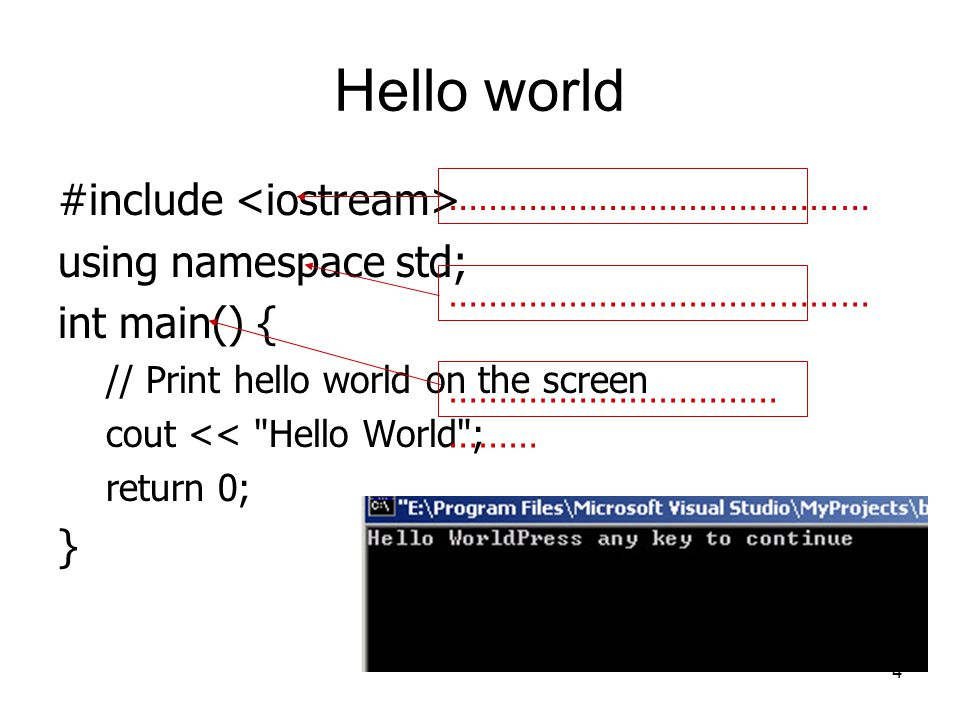 Hello world #include using namespace std; int main() { // Print hello world on the screen cout <<