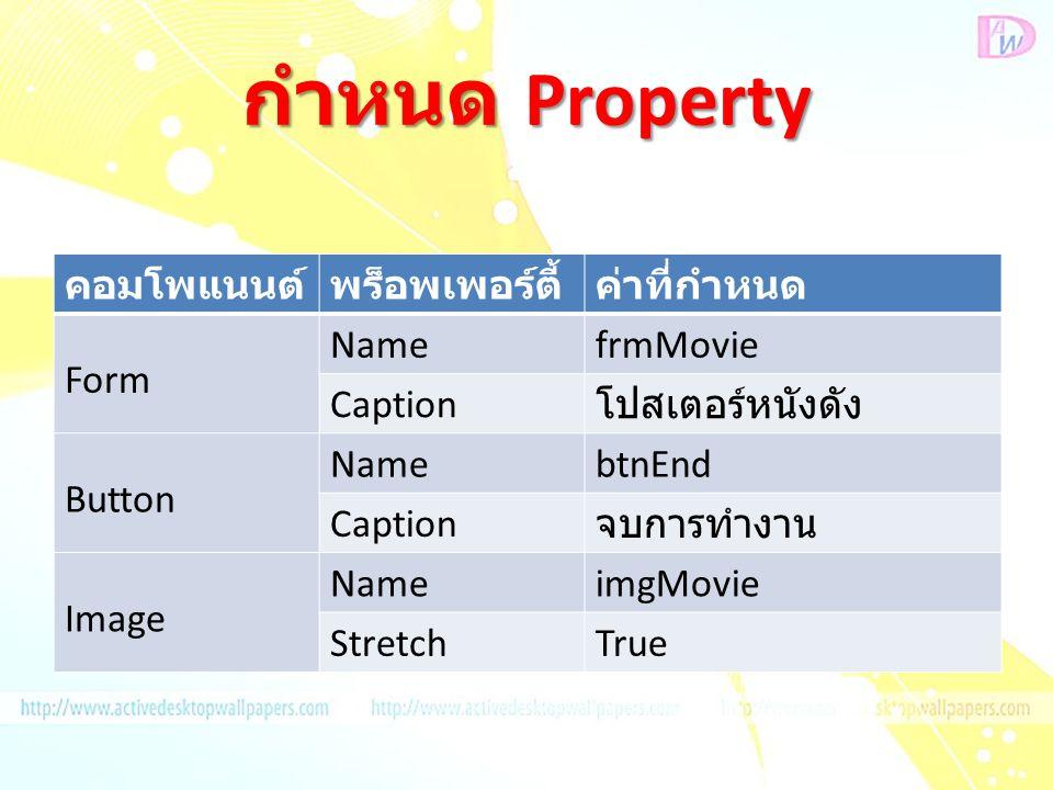 กำหนด Property คอมโพแนนต์พร็อพเพอร์ตี้ค่าที่กำหนด Form NamefrmMovie Caption โปสเตอร์หนังดัง Button NamebtnEnd Caption จบการทำงาน Image NameimgMovie StretchTrue