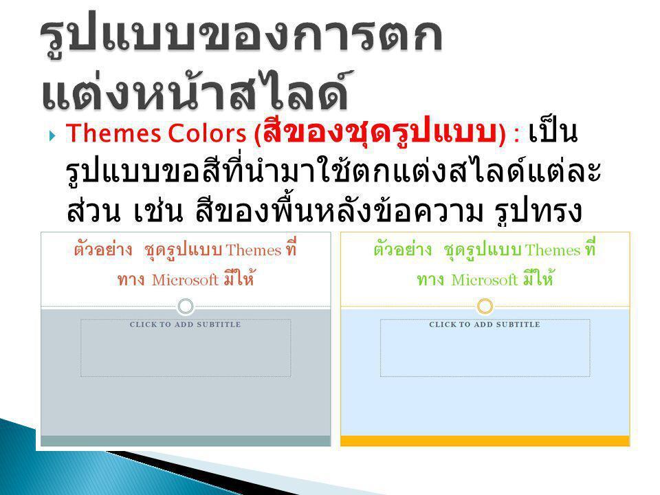  Themes Fonts ( แบบอักษรของชุด รูปแบบ ) : เป็นรูปแบบอักษร ที่ใช้ กำหนดให้ตัวอักษรทั้งหมดในสไลด์ ได้แก่ หัวเรื่องและเนื้อความ ทั้งภาษาไทยและ ภาษาอังกฤษ