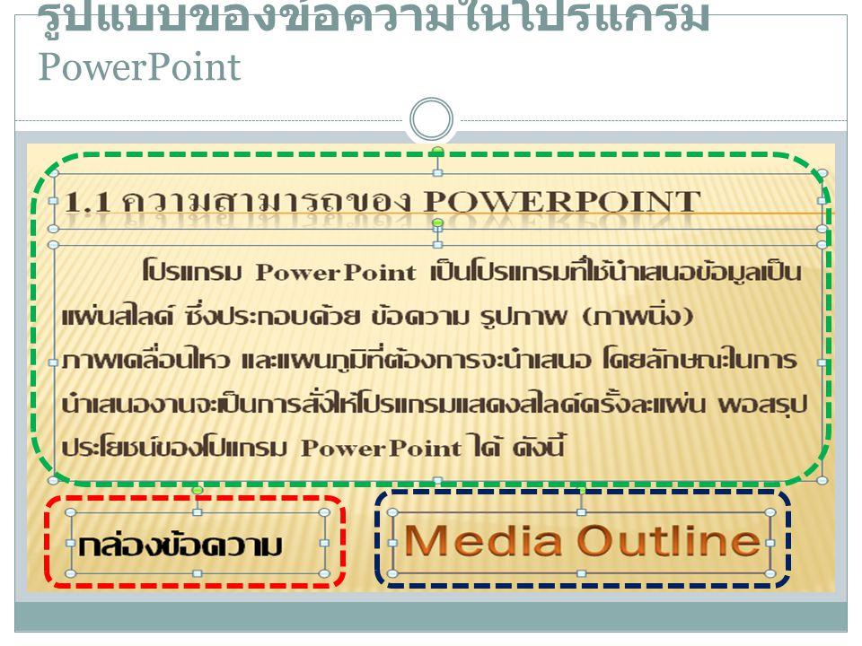 รูปแบบของข้อความในโปรแกรม PowerPoint