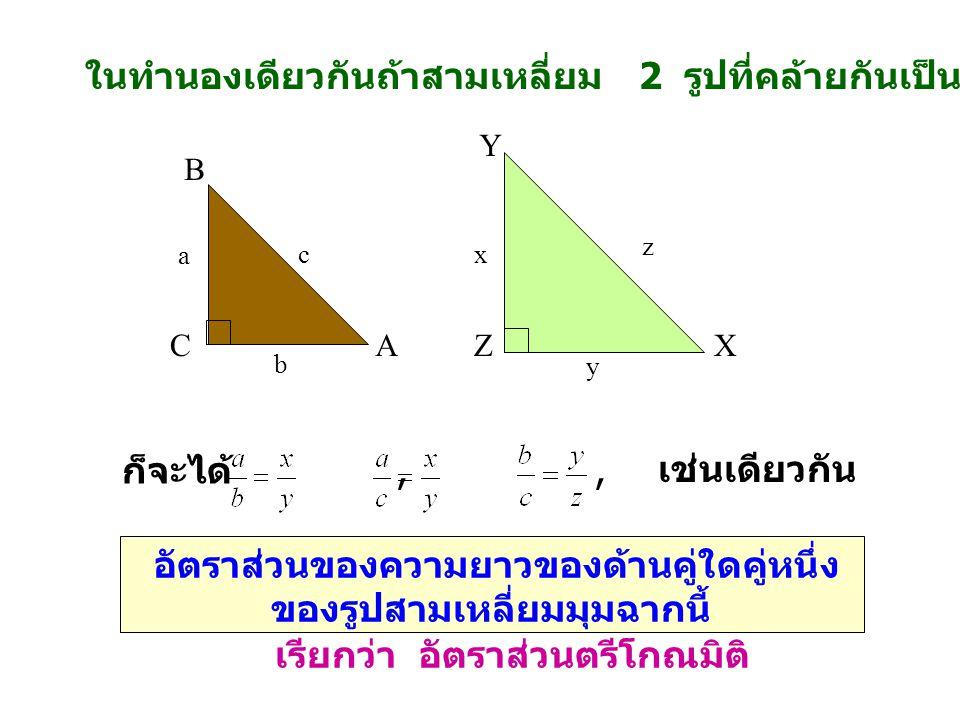 ในทำนองเดียวกันถ้าสามเหลี่ยม 2 รูปที่คล้ายกันเป็นสามเหลี่ยมมุมฉากดังรูป CA B ZX Y a c b x z y ก็จะได้,, เช่นเดียวกัน อัตราส่วนของความยาวของด้านคู่ใดคู